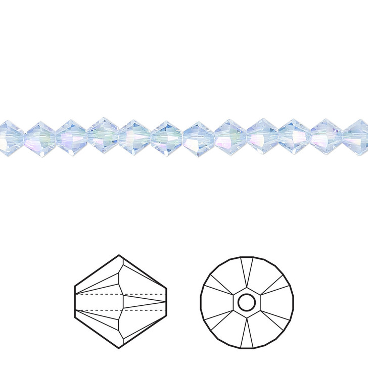 Swarovski Crystal, 4mm  bicone (48pk), Light Sapphire Shimmer 2X