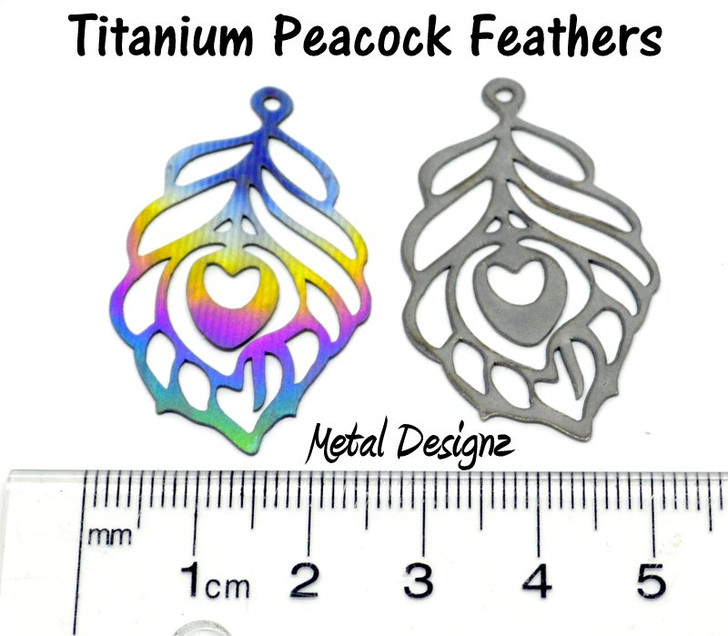 Laser Cut Titanium Peacock Feather Charms - Sold Each