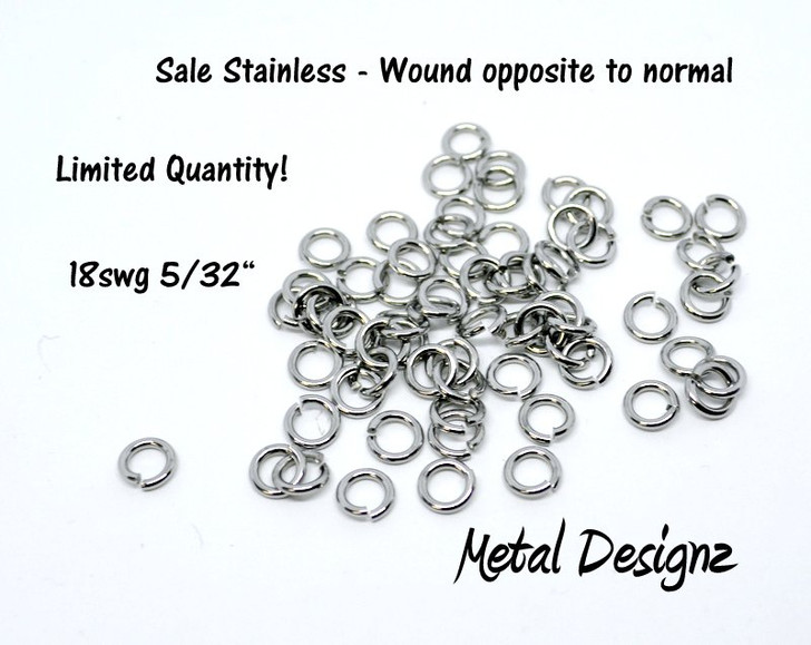 "SALE -- OOPS - Stainless Steel Jump Rings 18 Gauge 5/32"" id.  Wound Opposite"