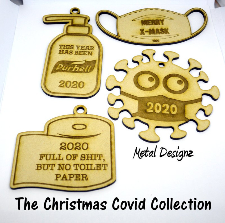 Laser Cut Wooden Christmas Ornament- The Covid Collection- 2020