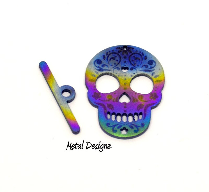Laser Cut Titanium Toggle or Charm Findings - Sugar Skull With Engraved Details