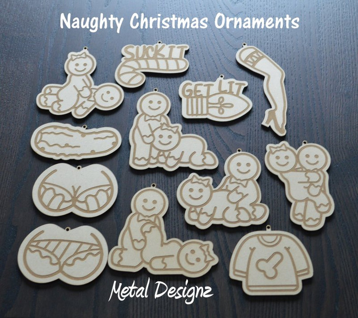 Laser Cut Wooden Christmas Ornament- The Naughty Collection - 2020