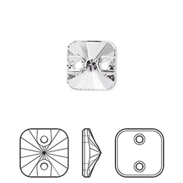 Swarovski Crystal - Sew On - 12mm faceted rivoli square. Sold per pkg of 2  Clearance.