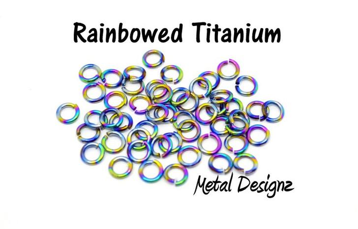 """Rainbowed Anodized Titanium Jump Rings 16 Gauge 9/32"""" id."""