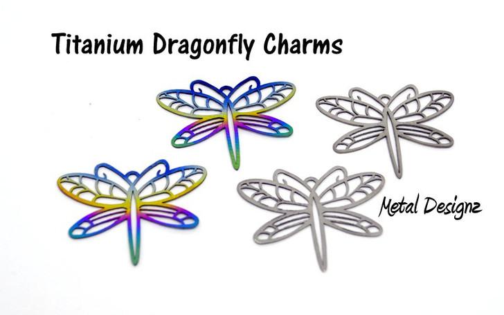 Laser Cut Titanium Charm - Dragonfly Pair