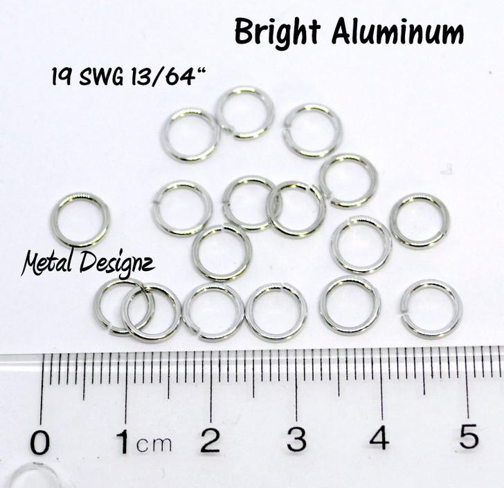 """Bright Aluminum Jump Rings 19 SWG Gauge 13/64"""" id."""