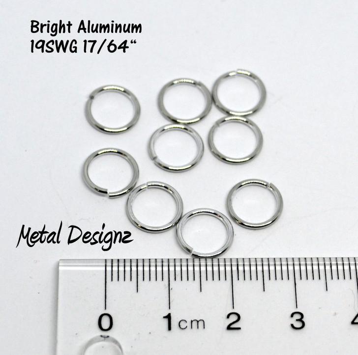 """Bright Aluminum Jump Rings 19 SWG 17/64"""" id."""