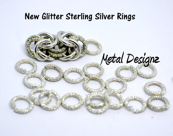 Sterling Silver- Glitter Rings in Various sizes- Sold per 1/4 ounce bag