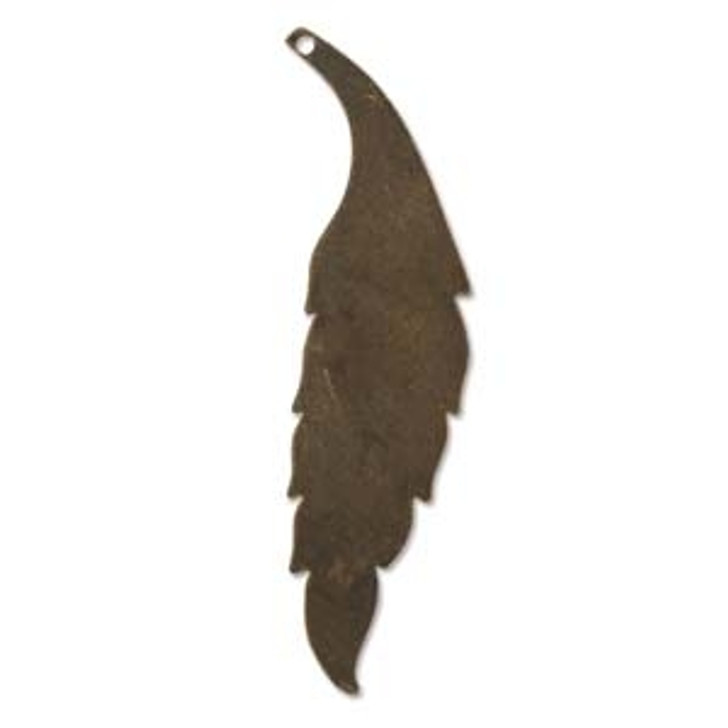 60X15MM SLENDER LEAF VINTAJ NAT. BRASS