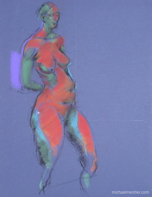 Figura XXXIII by Michael Mentler 25 in by 18 in, Pastel and Conté on Canson Mi-Teintes