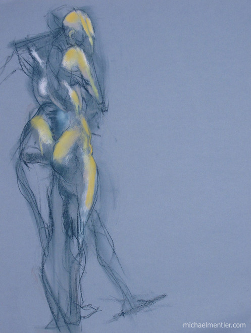 Figuration XXXXV by Michael Mentler 25 in by 18 in, Pastel and Conté on Canson Mi-Teintes