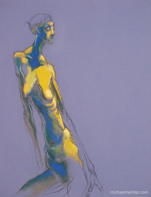 Figura LXXIX by Michael Mentler 25 in by 18 in, Pastel and Conté on Canson Mi-Teintes