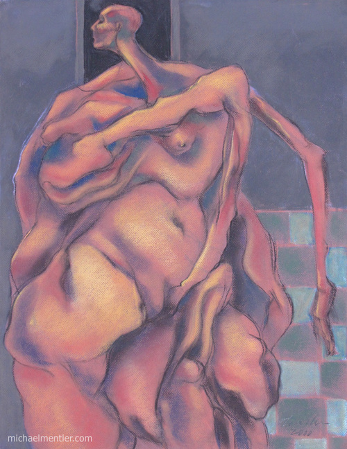 Muses LXIX by Michael Mentler 25 in by 18 in, Pastel and Conté on Canson Mi-Teintes