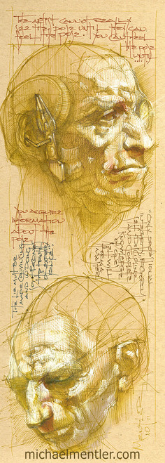 Sketchbook Journals XIII by Michael Mentler 13 in by 5 in, Archival Ink on French's Speckletone Paper
