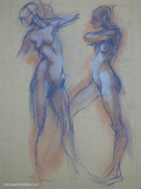 Figuras CLVII by Michael Mentler 25 in by 18 in, Pastel and Conté on Canson Mi-Teintes