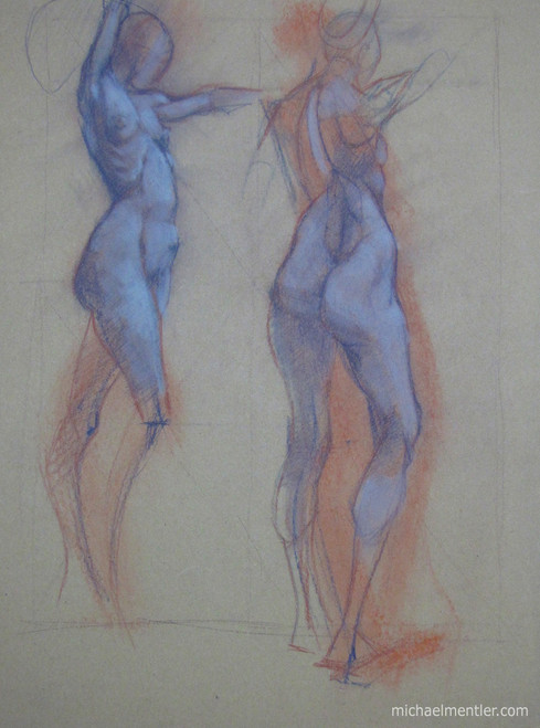 Figuras CLV by Michael Mentler 25 in by 18 in, Pastel and Conté on Canson Mi-Teintes