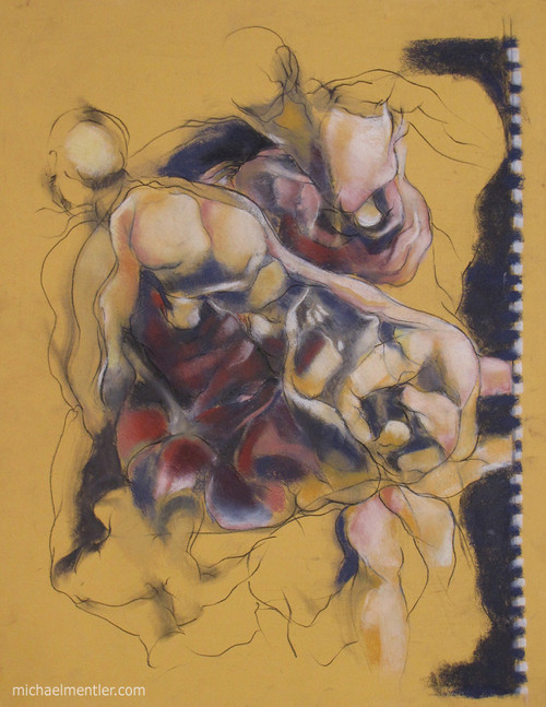Figuration CXXIX by Michael Mentler 25 in by 18 in, Pastel and Conté on Canson Mi-Teintes