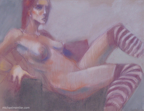Figura CXXXIII by Michael Mentler 25 in by 18 in, Pastel and Conté on Canson Mi-Teintes