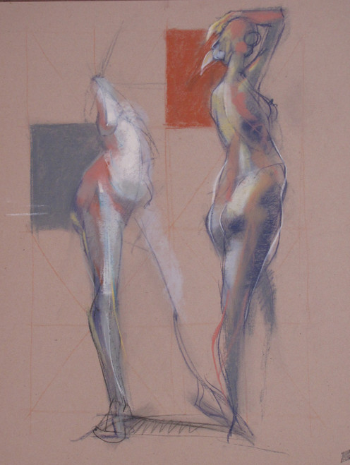 Figura CLIII by Michael Mentler 25 in by 18 in, Pastel and Conté on Canson Mi-Teintes