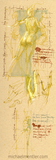 Sketchbook Journals CCXXXIII by Michael Mentler 13 in by 5 in, Archival Ink on French's Speckletone Paper