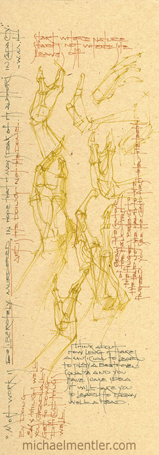 Sketchbook Journals CCXLIII by Michael Mentler 13 in by 5 in, Archival Ink on French's Speckletone Paper