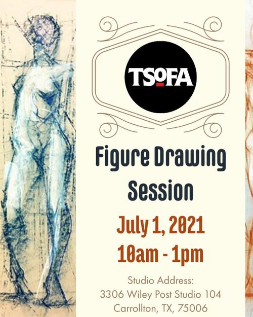 Pass to a single figure drawing session at TSoFA on July 1, 2021.