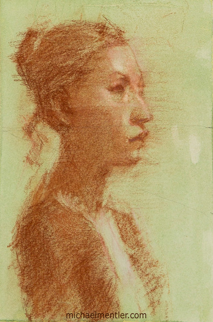Female Portrait XI by Michael Mentler, Sanguine on Toned Paper, 6 by 9 inch