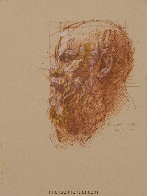 Male Portrait XIII by Michael Mentler, Ink on Toned Paper, 9 by 12 inch