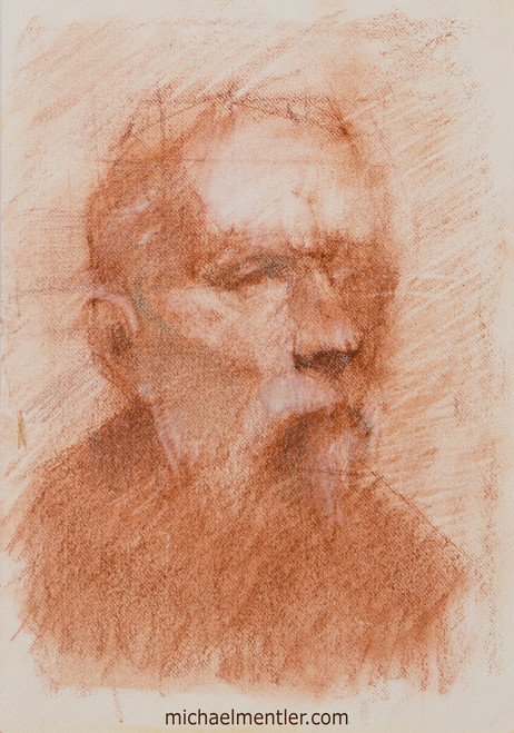 Male Portrait XV by Michael Mentler, Sanguine on Toned Paper, 6 by 9 inch