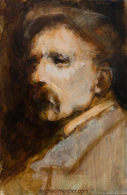 Male Portrait XIX by Michael Mentler, Sanguine and oil on Linen Panel, 6 by 9 inch