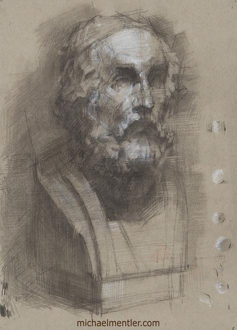Male Portrait XXIII (Cast Study) by Michael Mentler, Dry Media on Paper, 8.5 by 12 inch