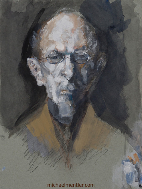 Male Portrait XXV by Michael Mentler, Dry Media on Paper, 9 by 12 inch
