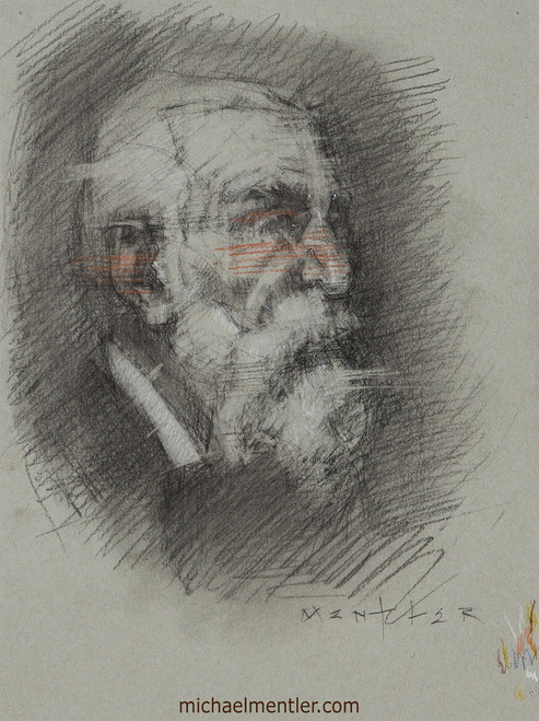 Male Portrait XXVII by Michael Mentler, Charcoal and Sanguine on Paper, 9 by 12 inch