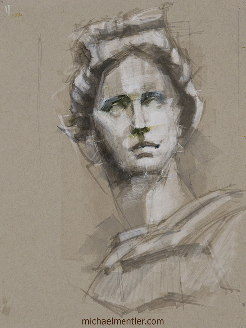Female Portrait XXIX by Michael Mentler, Mixed Media on Paper, 9 by 12 inch