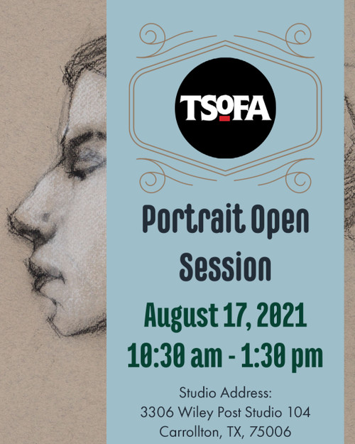 Pass to a single uninstructed portrait drawing session at TSOFA on August 17, 2021.