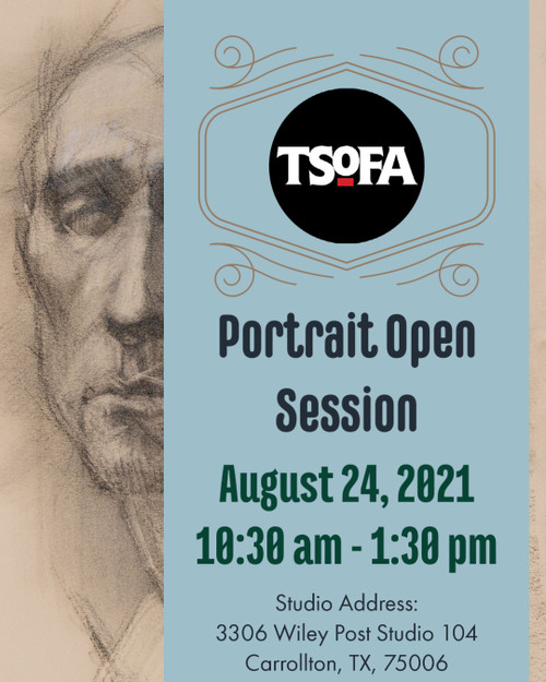 Pass to a single uninstructed portrait drawing session at TSOFA on August 24, 2021.