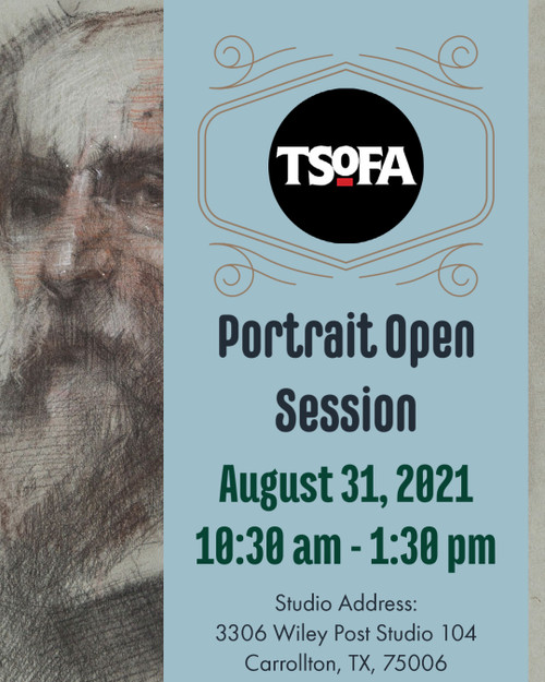 Pass to a single uninstructed portrait drawing session at TSOFA on August 31, 2021.