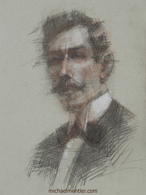 Male Portrait XXXIII by Michael Mentler, Charcoal, Sanguine, and Pastels on Paper, 9 by 12 inch