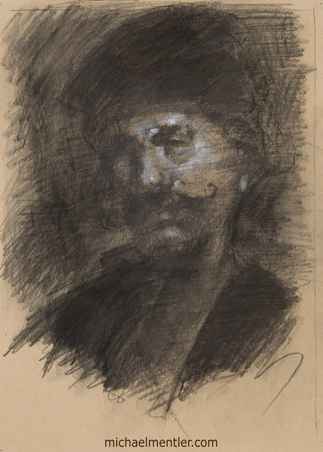 Male Portrait XXXIV by Michael Mentler, Charcoal and Pastels on Paper, 9 by 12 inch