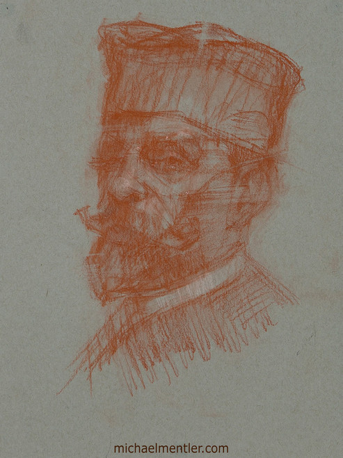 Male Portrait XXXV by Michael Mentler, Sanguine on Paper, 9 by 12 inch