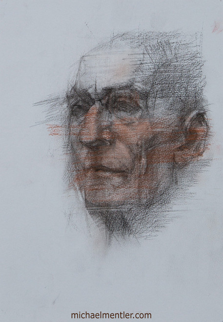 Male Portrait XXXVII by Michael Mentler, Charcoal and Sanguine on Paper, 8 by 12 inch
