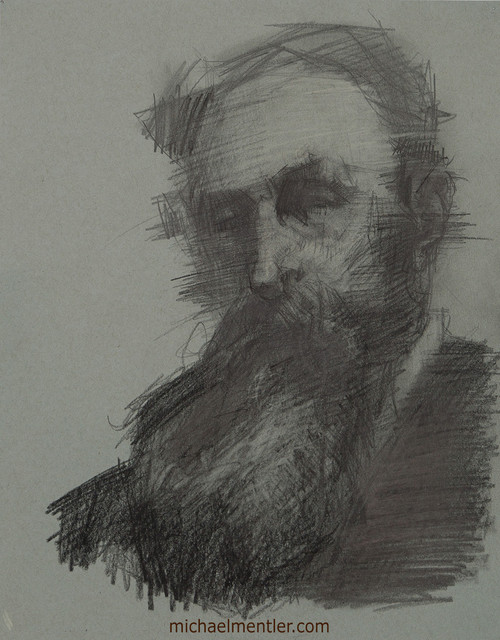 Male Portrait CLIII by Michael Mentler, Charcoal on Paper, 11 by 14 inch