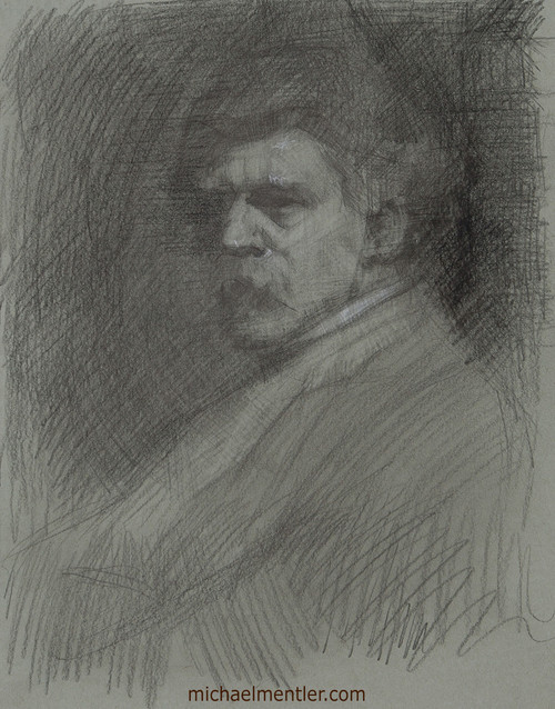 Male Portrait CLV by Michael Mentler, Charcoal on Paper, 11 by 14 inch
