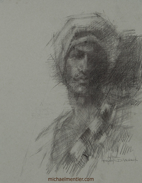 Male Portrait CLVII by Michael Mentler, Charcoal on Paper, 11 by 14 inch