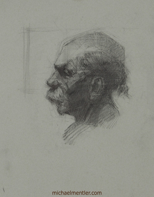 Male Portrait CLIX by Michael Mentler, Charcoal on Paper, 11 by 14 inch