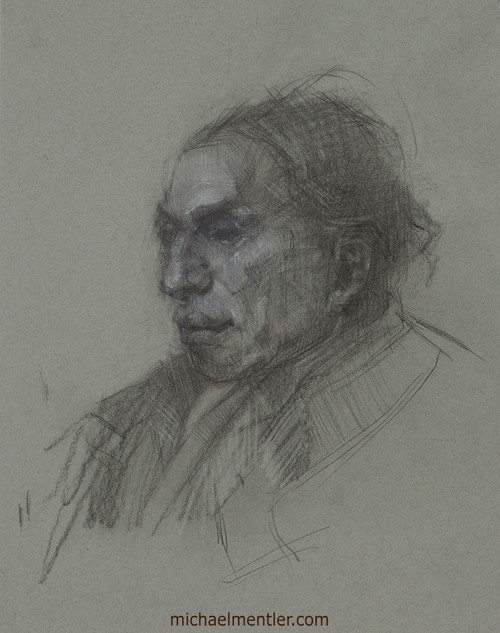 Male Portrait CLXI by Michael Mentler, Charcoal on Paper, 11 by 14 inch