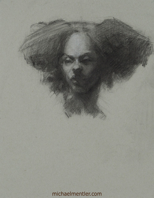 Female Portrait CLXIII by Michael Mentler, Charcoal on Paper, 11 by 14 inch