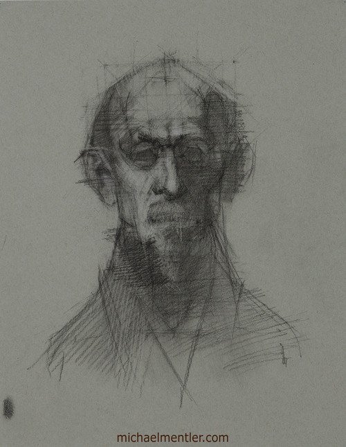 Male Portrait CLXV by Michael Mentler, Charcoal on Paper, 11 by 14 inch