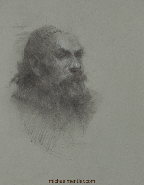 Male Portrait CLXIX by Michael Mentler, Charcoal on Paper, 11 by 14 inch