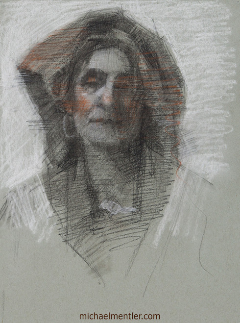 Female Portrait CLXXI by Michael Mentler, Charcoal on Paper, 11 by 14 inch